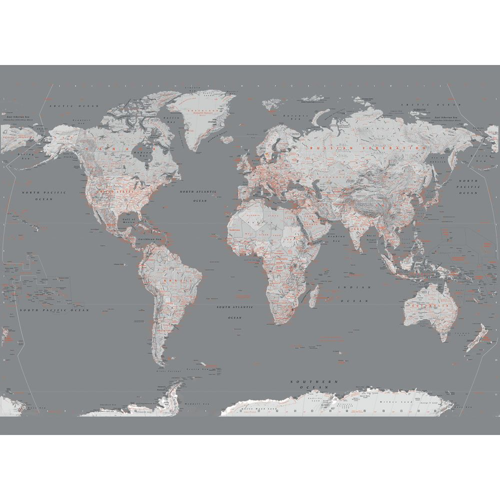 1wall modern silver map wallpaper mural home pinterest world map in sliver and orange large magnetic notice board inc magnets gumiabroncs Images