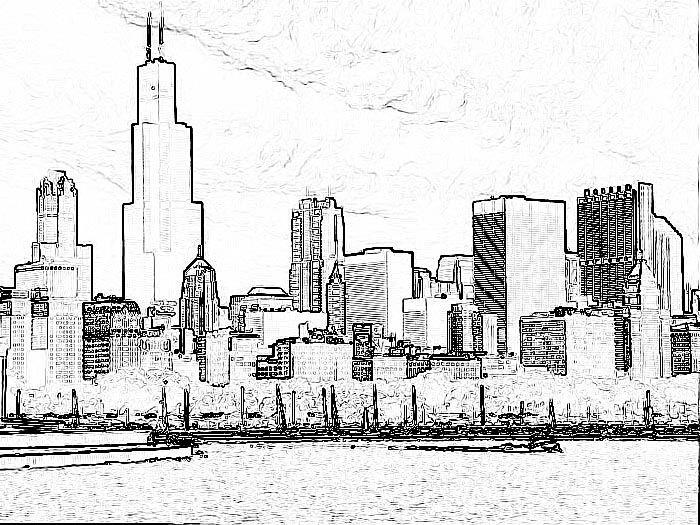 Chicago Skyline Manga Style Chicago Skyline Skyline Chicago Skyline Silhouette