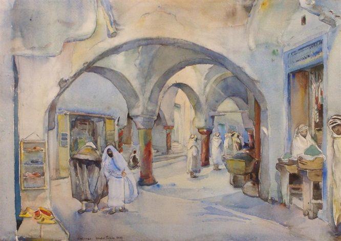 Souk Tunis, 1897 by Elizabeth Nourse, watercolour