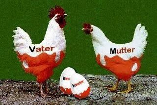 Haha. Chicken father + chicken mother = children. Now, translate it to German. Funny. :)