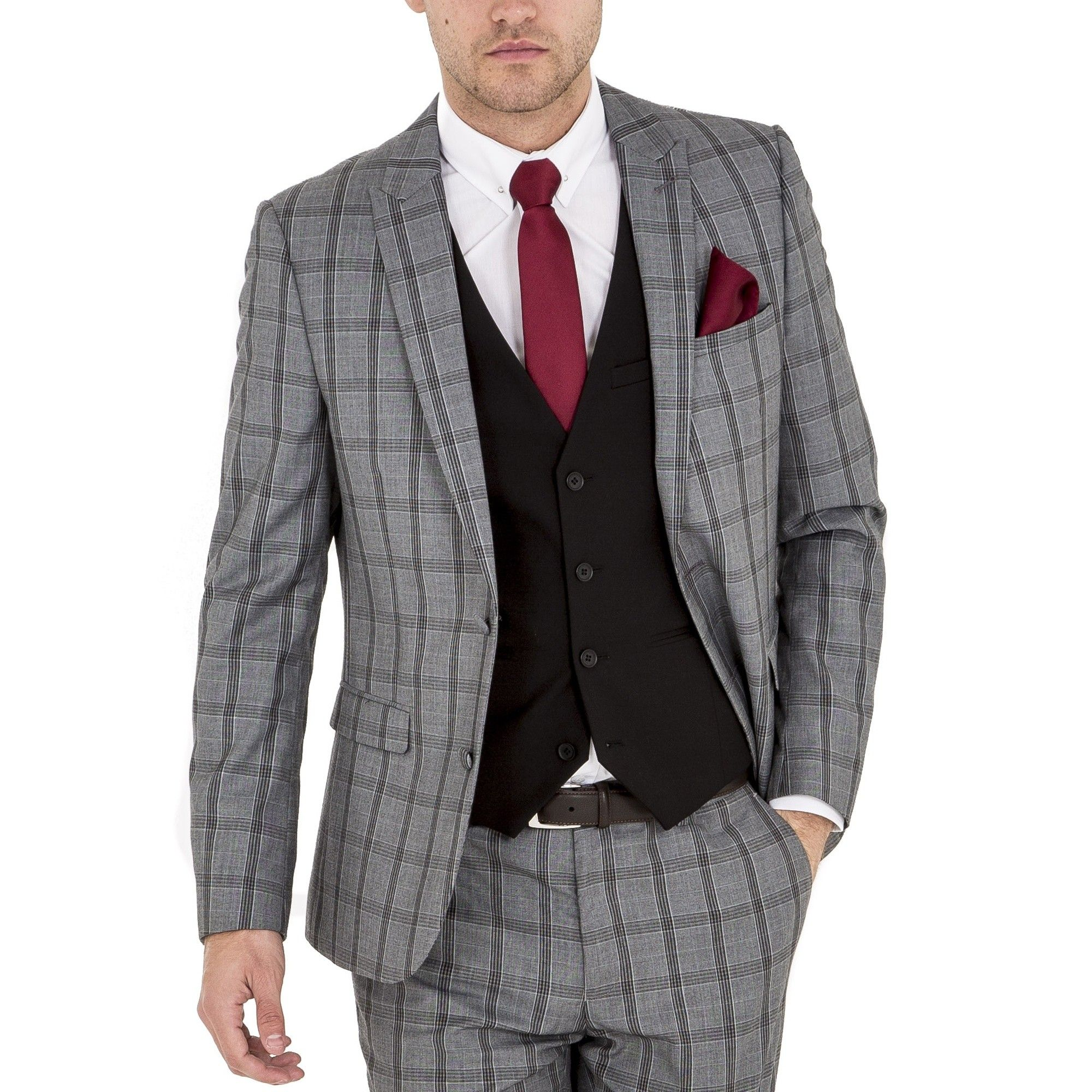 HARRY BROWN Skinny Fit Grey Check Three Piece Suit - Three Piece ...