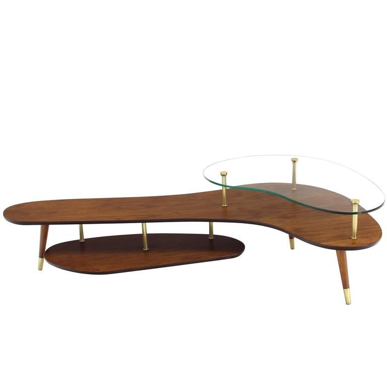 Boomerang Shape Coffee Table With Glass Top From A Unique