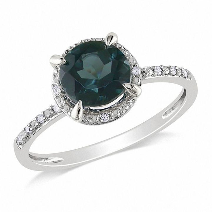 Zales 70mm London Blue Topaz And Diamond Accent Engagement Ring In 10K White Gold
