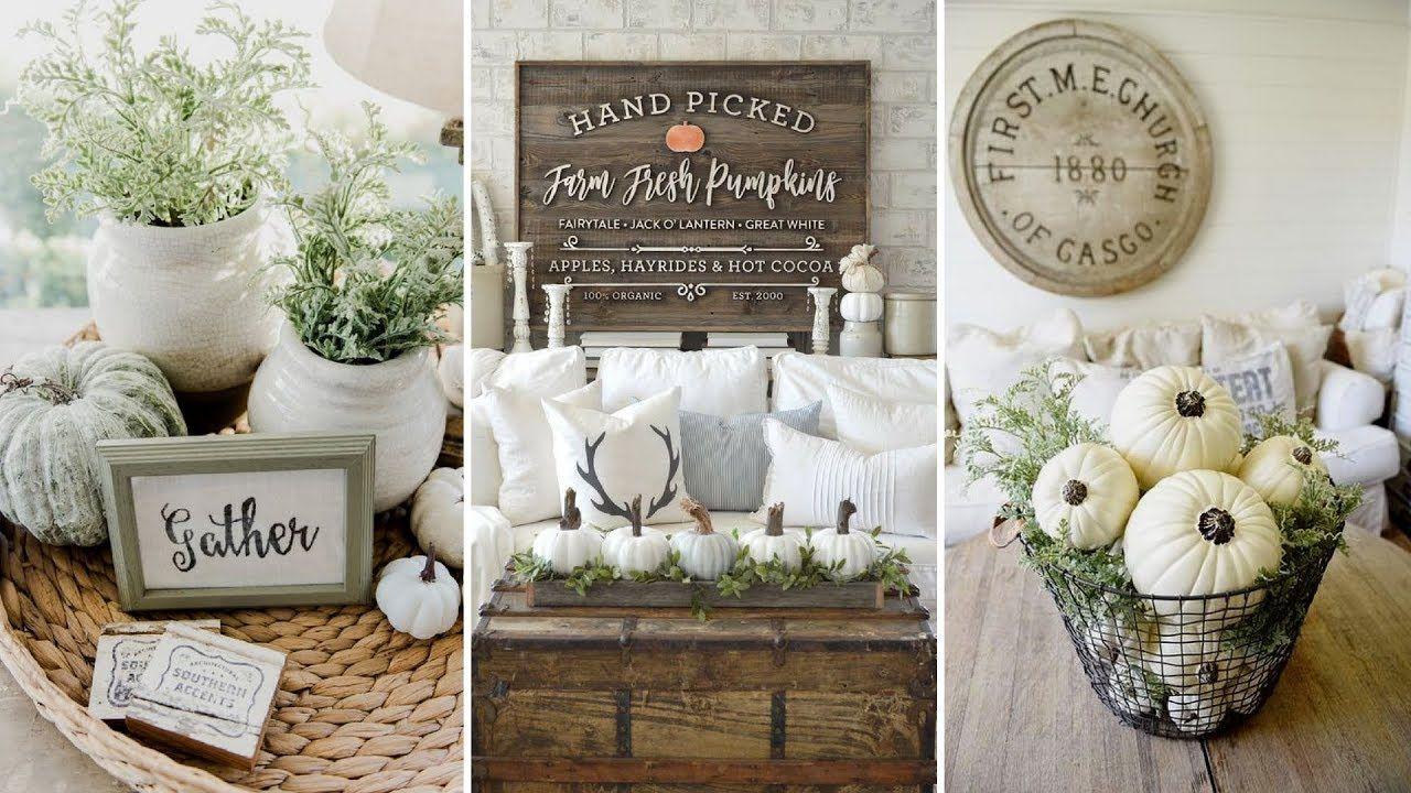 DIY Rustic Farmhouse style Fall coffee table centerpiece