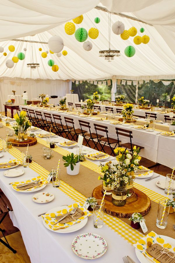 Tent For Reception   Tablescape Yellow Gingham With Colorful Pom Poms  Hanging