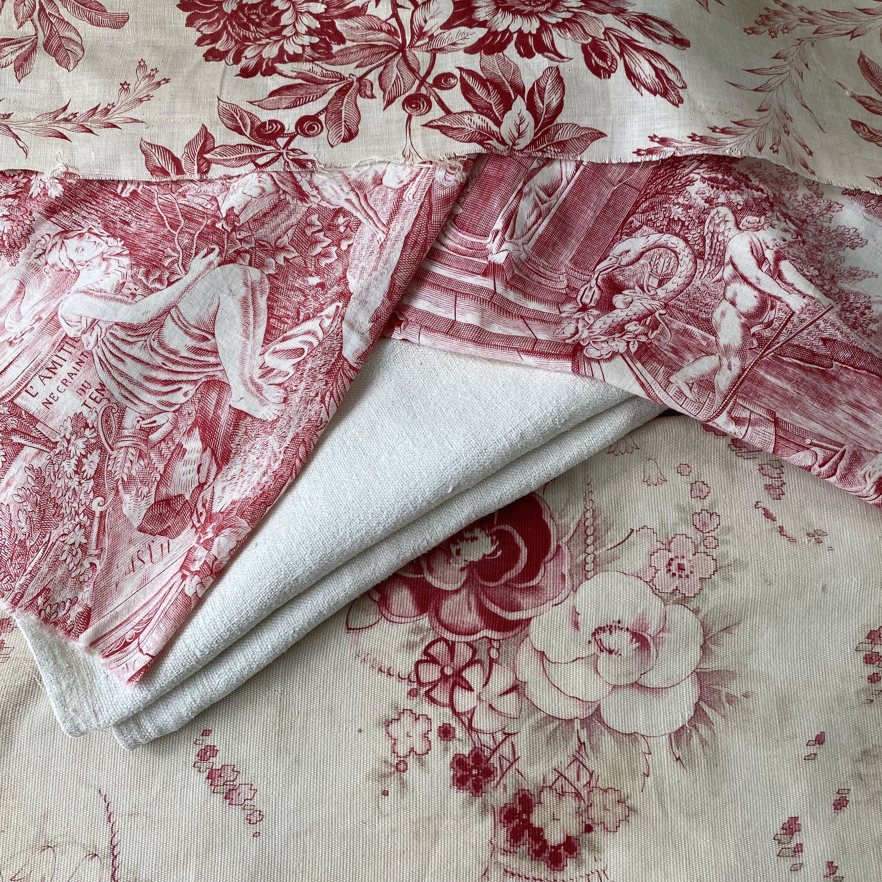 French fabric floral toile and linen Project Bundle for sewing projects material antique vintage cloth