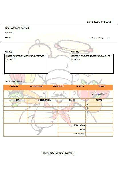 CATERING INVOICE 4 catering ideas Pinterest Catering and - catering invoice template excel