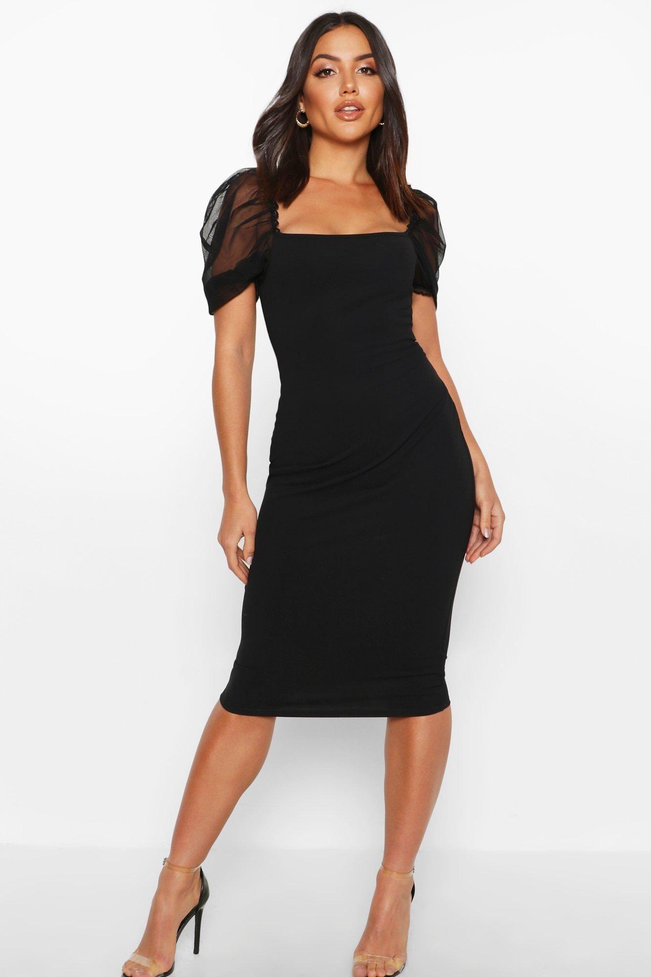 Home Black Dresses Classy Little Black Dress Classy Midi Dress With Sleeves [ 2000 x 1333 Pixel ]