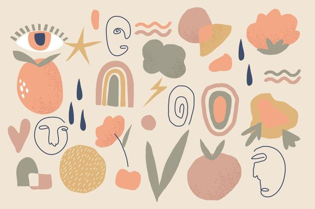 Download Hand Drawn Abstract Organic Shapes Backgr