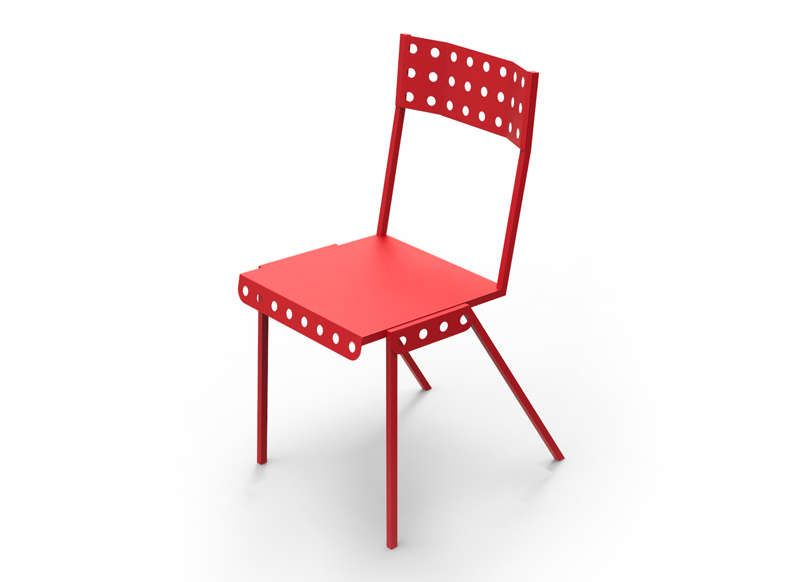 Chaise Bistrot Meccano Rouge Meubles Pas Cher Mobilier
