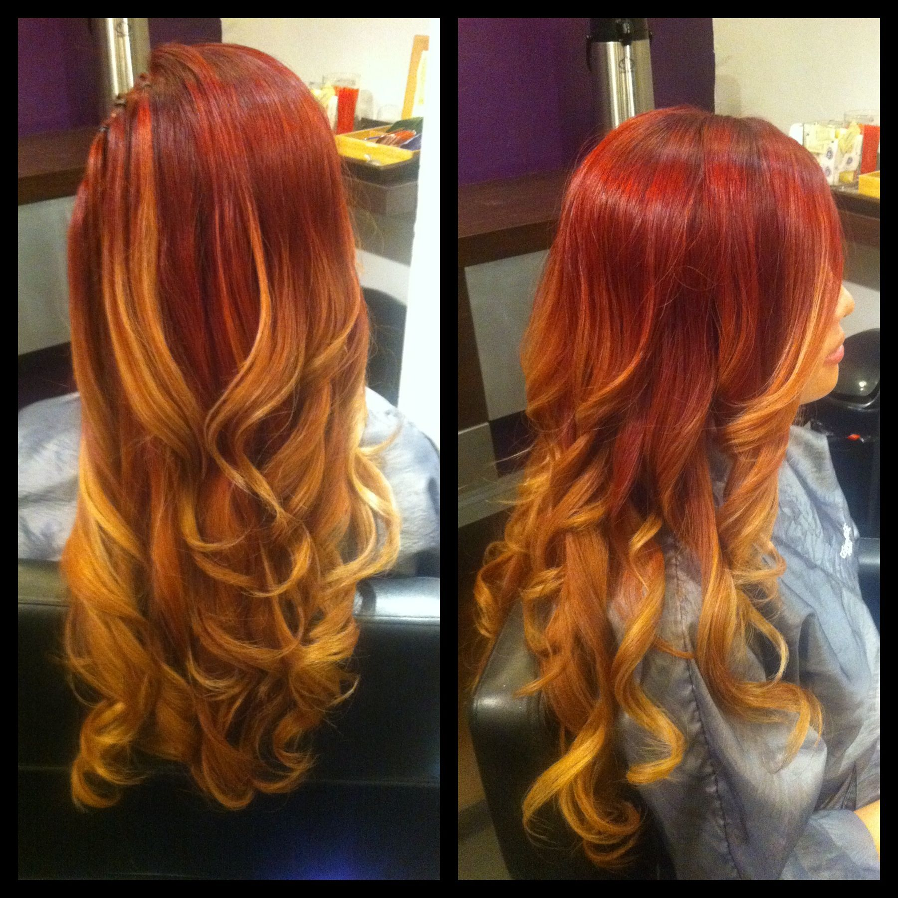 Red to blonde ombré, red ombré, ombred mermaid hair