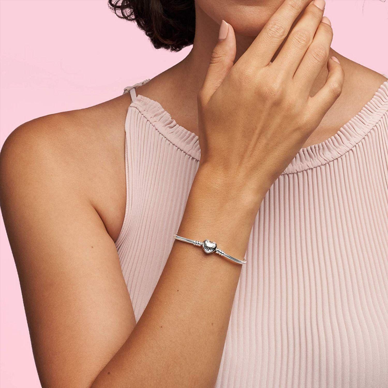 Moments Heart Clasp Snake Chain Charm Bracelet for Women in ...