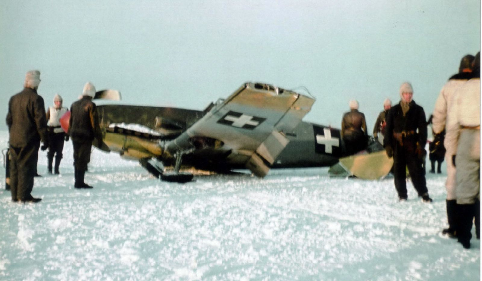 """Messerschmitt Bf 109 F-4 """"V-+08"""" from Hungarian Air Force Squadron 5/1 after a training mission ended in crash landing. V-+08 was destroyed when Stary Oskol airfield was evacuated on 18 March 1943"""