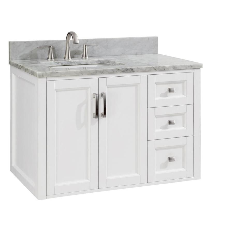 Allen Roth Floating 36 In White Single Sink Bathroom Vanity With Natural Carrara Marble Top Lowes Com Single Sink Bathroom Vanity Bathroom Sink Vanity Bathroom Vanity