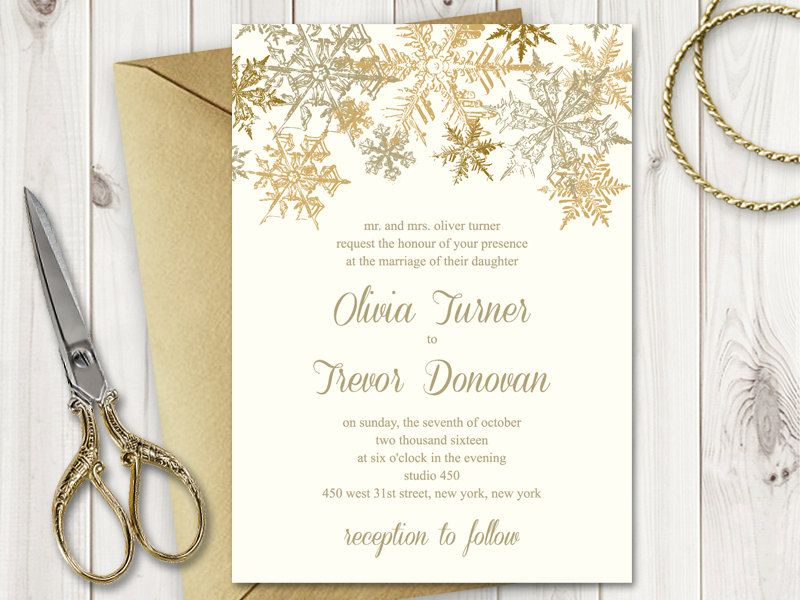 Christmas Wedding Invitation Template \
