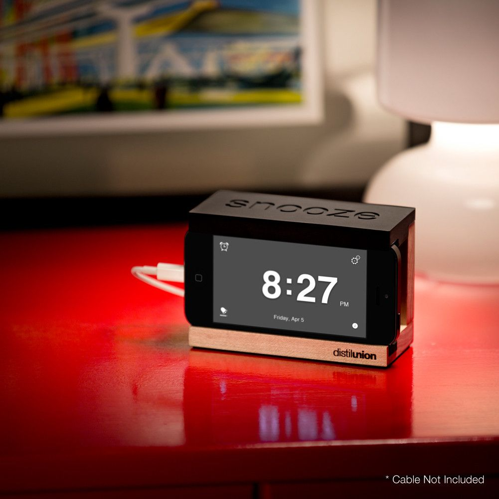 Snooze Wood iPhone Alarm Dock Stand for iPhone with Clock