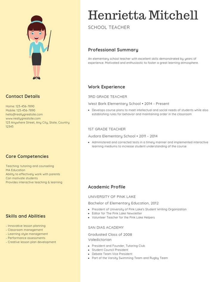 Pin By Professor Sunny On 1 Resume Resume Design Unique Resume Elementary School Skills