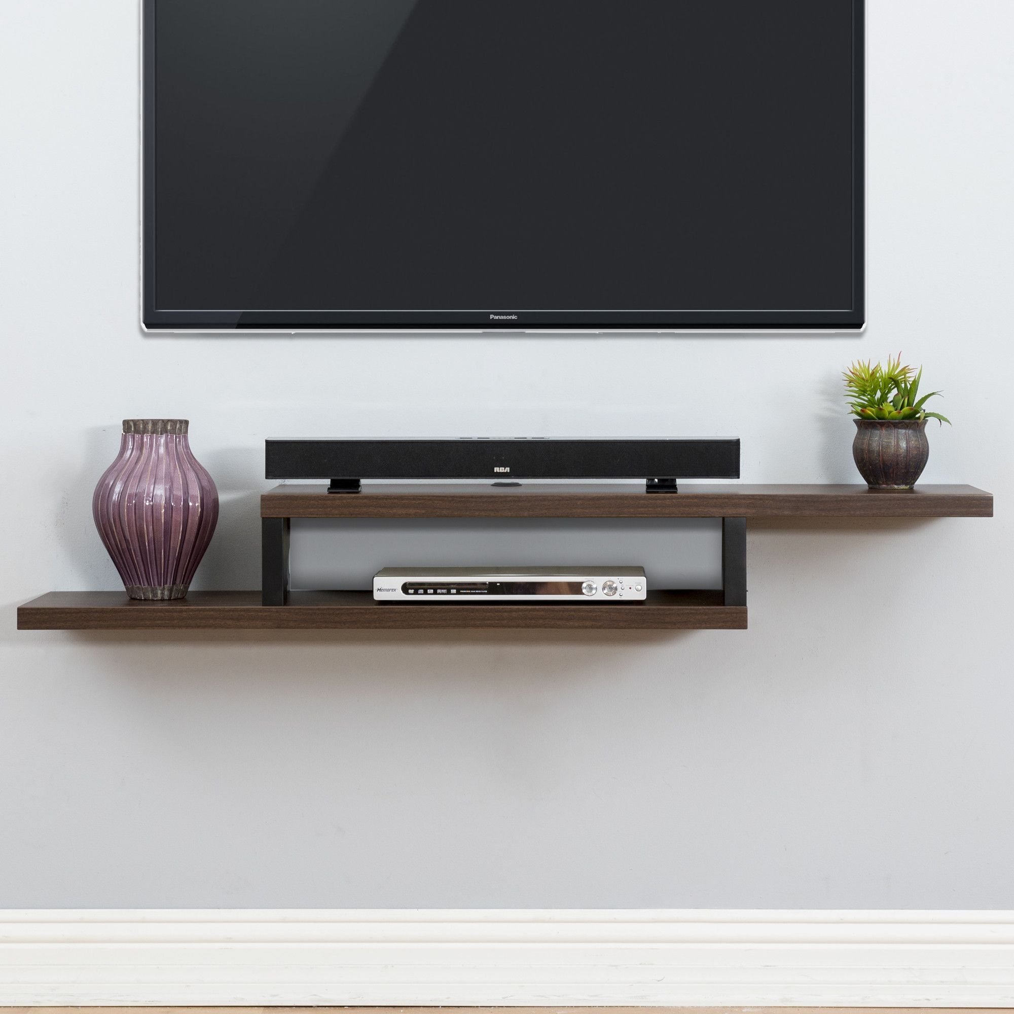 ascend 60 asymmetrical wall mounted tv component shelf