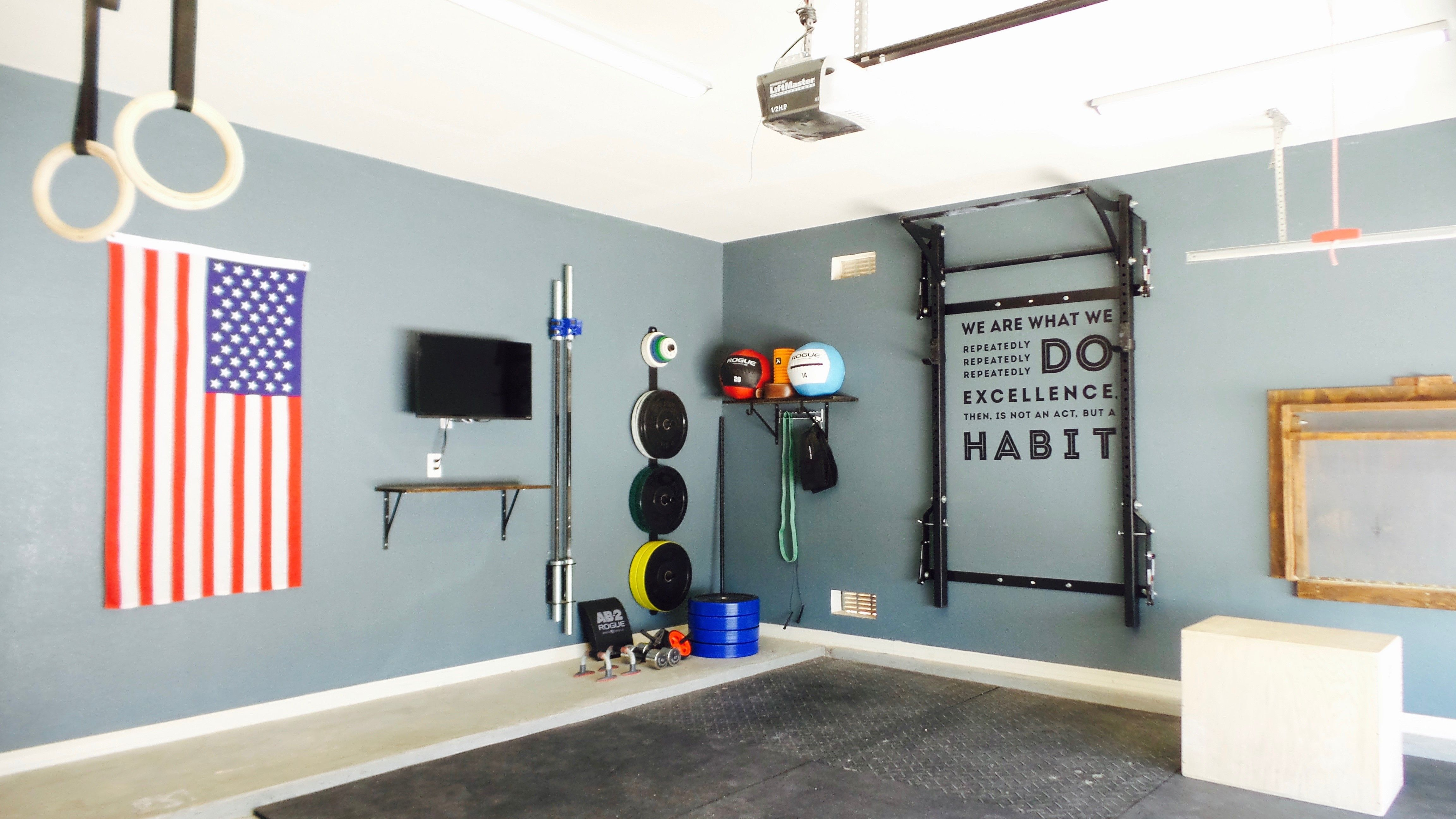 Clean home gym equipped with the prx profile rack and