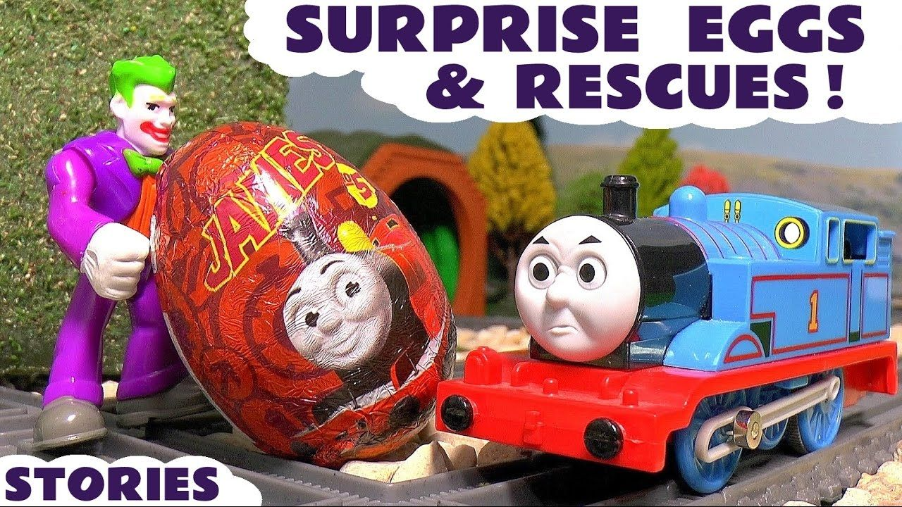 Surprise Eggs with Thomas and Friends Toy Trains Joker Batman and Superh...