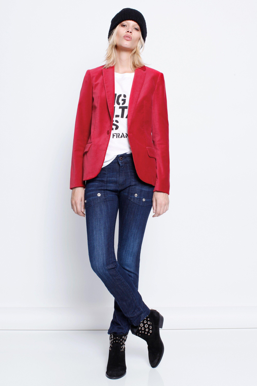 Veste en velours femme rouge