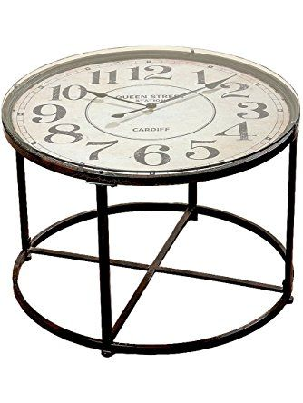 """The Industrial Chic Clock Table, Vintage Style, Metal with Glass Top, Quartz Movement, 31 1/2 Diameter x 22"""" High, from Our Loft Living Collection, By Whole House Worlds ❤ Whole House Worlds"""