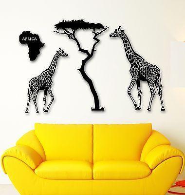 Wall Stickers Vinyl Decal Giraffe Savanna Africa Animals Tree (ig959) Part 90