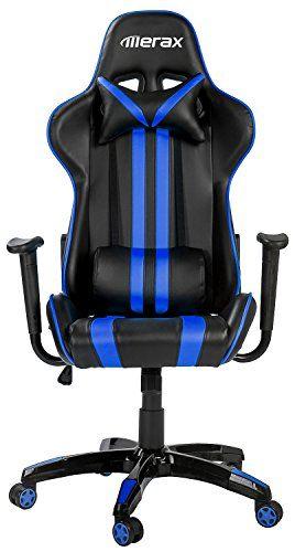 comfortable gaming chair. Merax Ergonomic High Back Reclining Chair, Blue And Black Comfortable Gaming Chair
