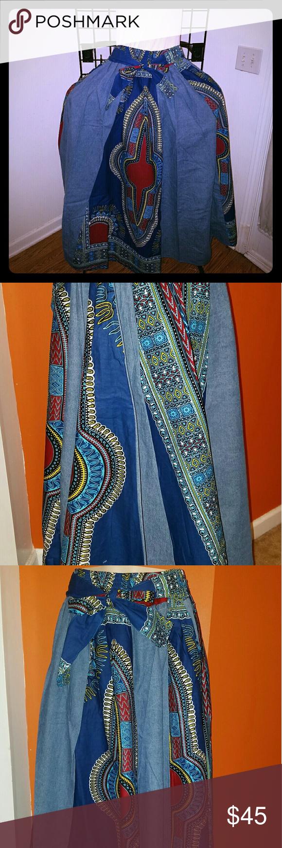 Denim African Print Skirt 100% cotton Denim like fabric. One size fits most. Skirts Maxi