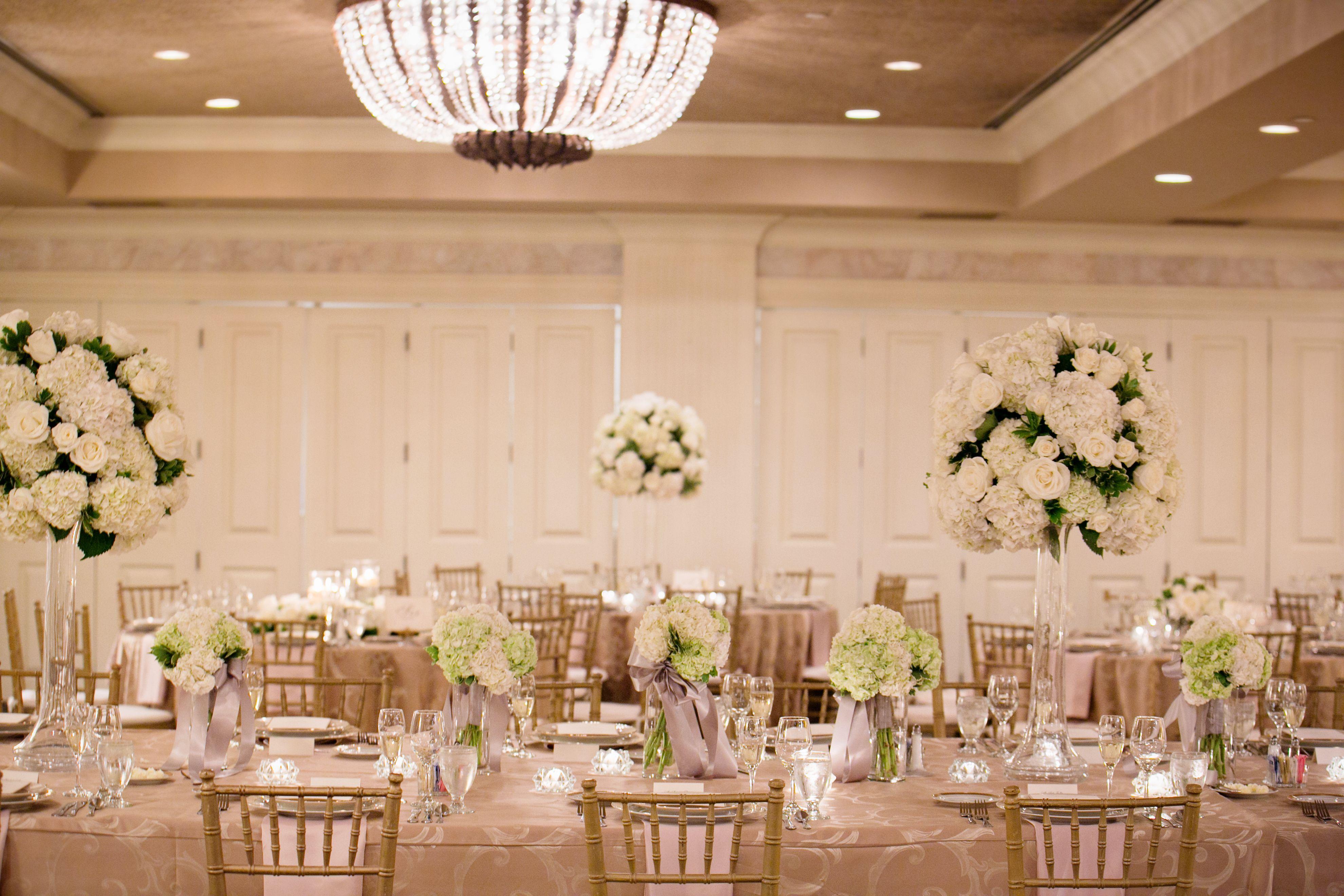 Full White Ballroom, Lush Floral, Mocha Linens, Gold Linens, Gold