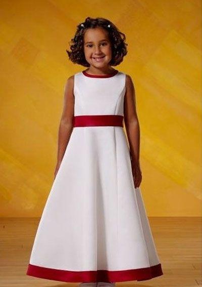 Satin A line with Red Hem Beautiful Flower Girl Dress