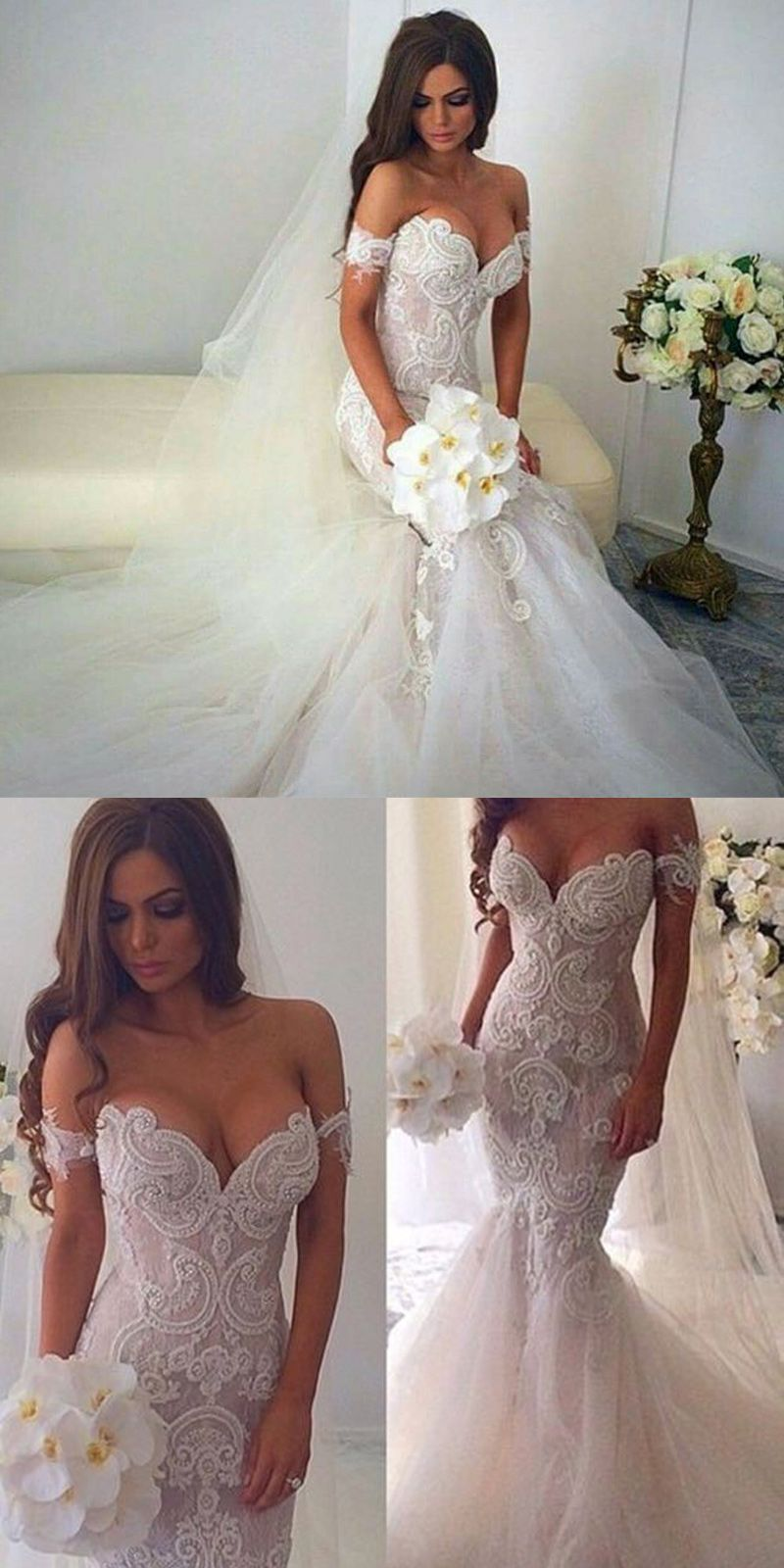 Glamour Off The Shoulder Mermaid Wedding Dress With Appliques