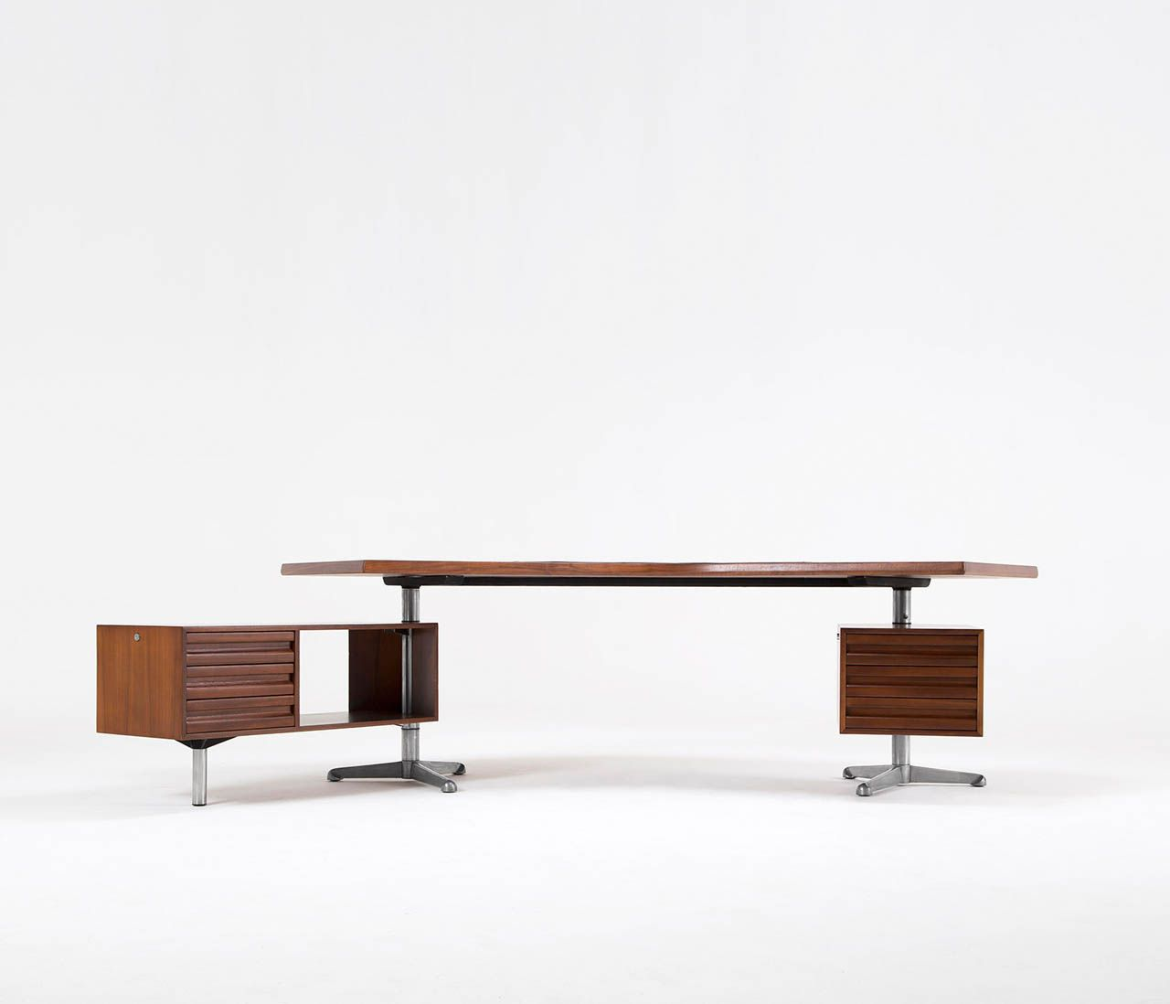 'Boomerang' Executive Desk, by Osvaldo Borsani Model T96 | From a unique collection of antique and modern desks at http://www.1stdibs.com/furniture/storage-case-pieces/desks/
