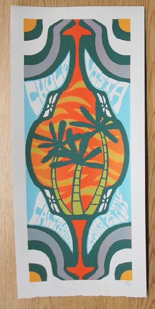 Original silkscreen concert poster for Phish at the Sleep Train Amphitheatre in Chula Vista, California on Sat Oct 25, 2014. 10 x 22 inches. It is printed on Watercolor Paper with Acrylic Inks. The poster is signed and numbered out of 100 by the artist Tripp.