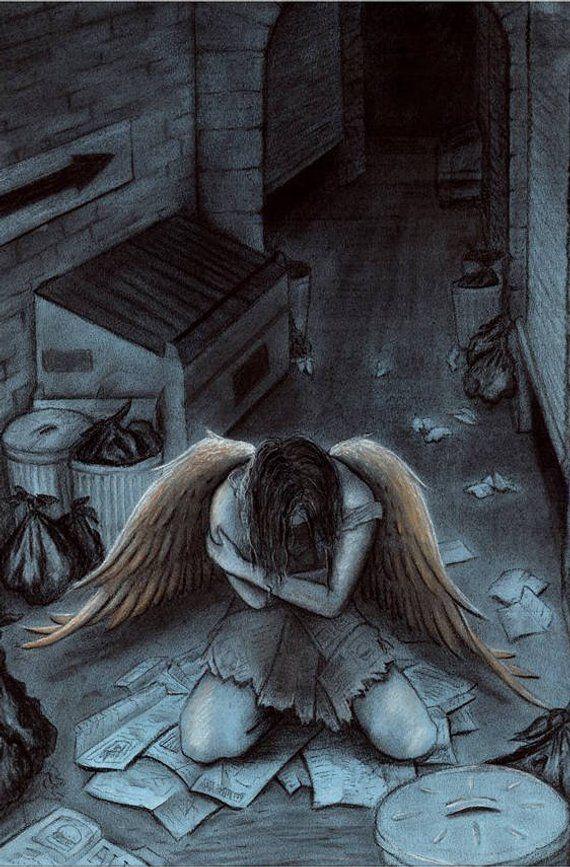Angel Caido Alas De Angeles Dibujos Arte De Fantasia Oscura