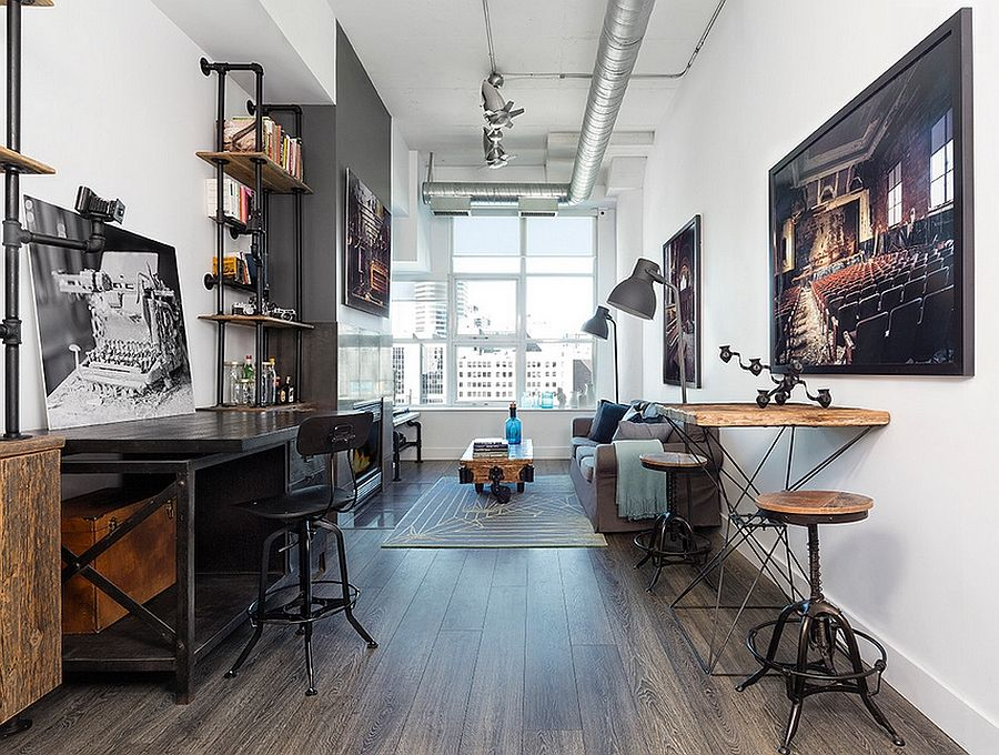 industrial style home office. narrow space turned into a gorgeous home office industrial style f