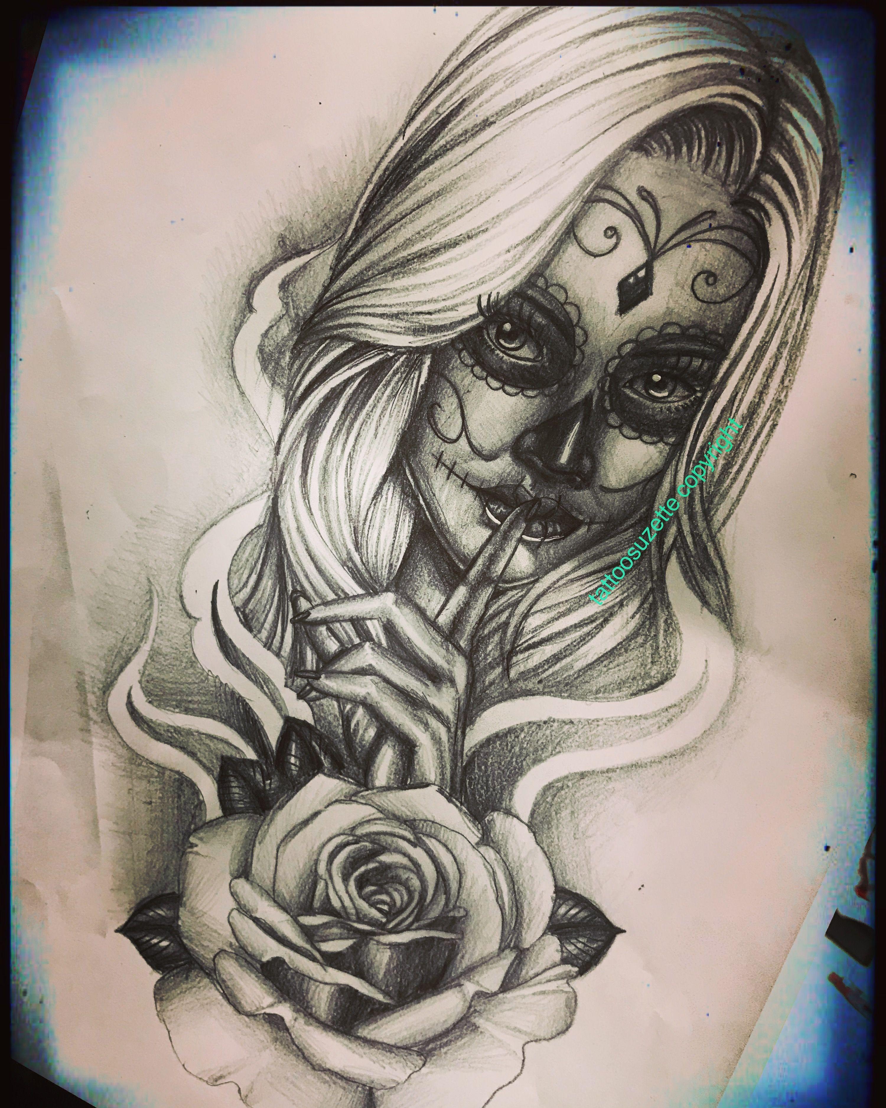 Santa muerte tattoo tattoo tattoodesign tatouage catrina katrina santamuerte - Santa muerte tatouage signification ...