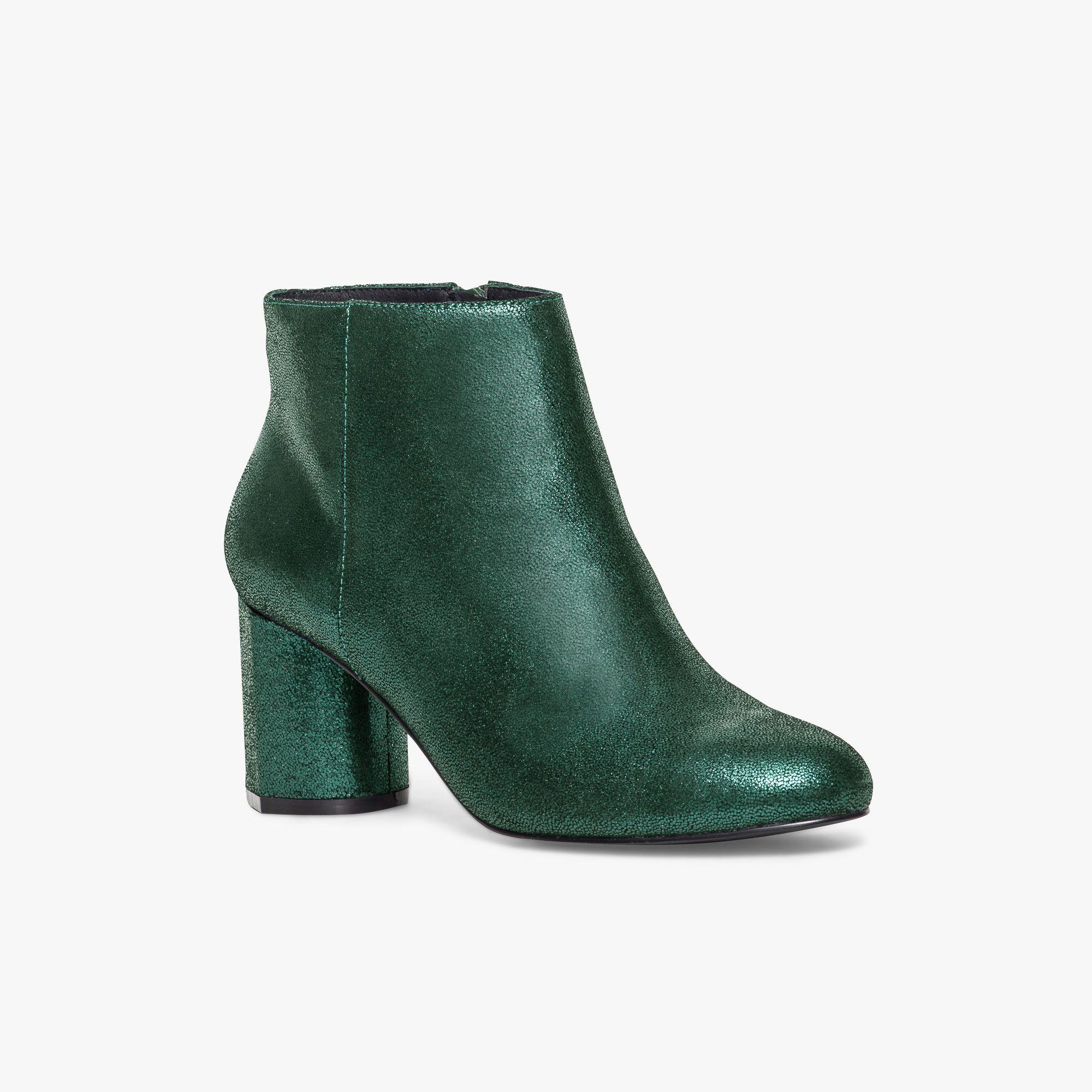 64aa5c4e3e4a Boots vert émeraude en cuir métallisé