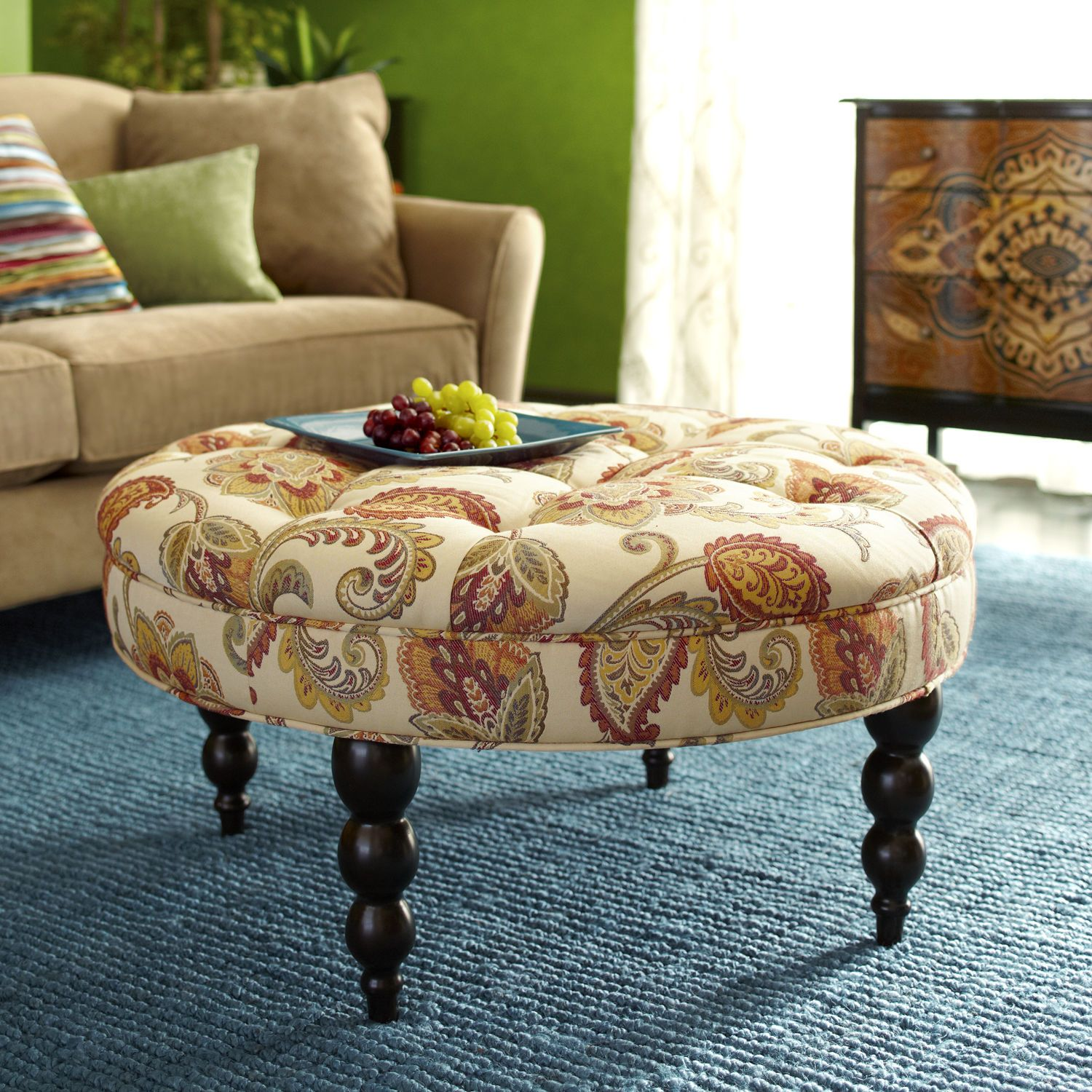 Groovy Tufted Ottoman Jacobean Ochre Pier 1 Imports Home Ibusinesslaw Wood Chair Design Ideas Ibusinesslaworg