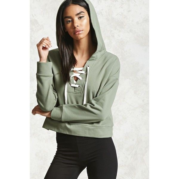 df4cd32b57b73e Forever21 Cropped Lace-Up Hoodie ( 16) ❤ liked on Polyvore featuring tops
