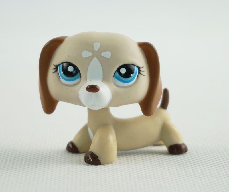 Littlest Pet Shop LPS #1491 Blue Eyes Puppy Tan Cream White Dachshund Dog