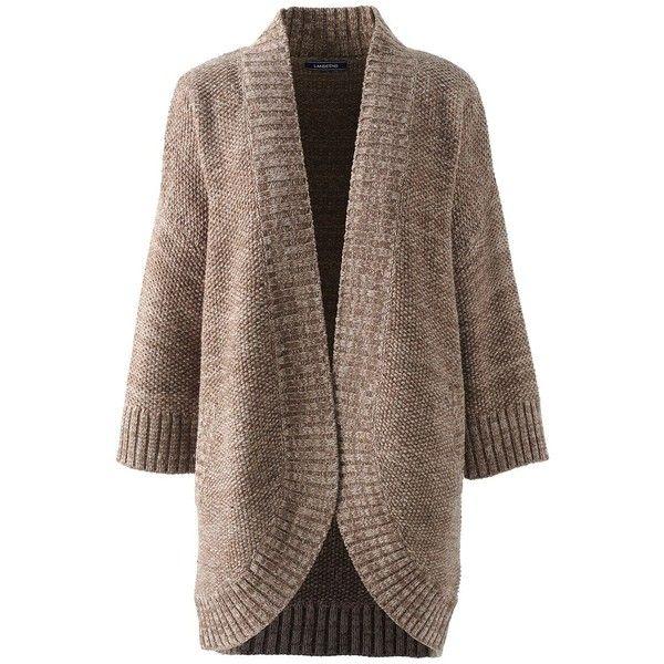 Lands' End Women's Tall Lofty 3/4 Sleeve Open Cardigan Sweater ...