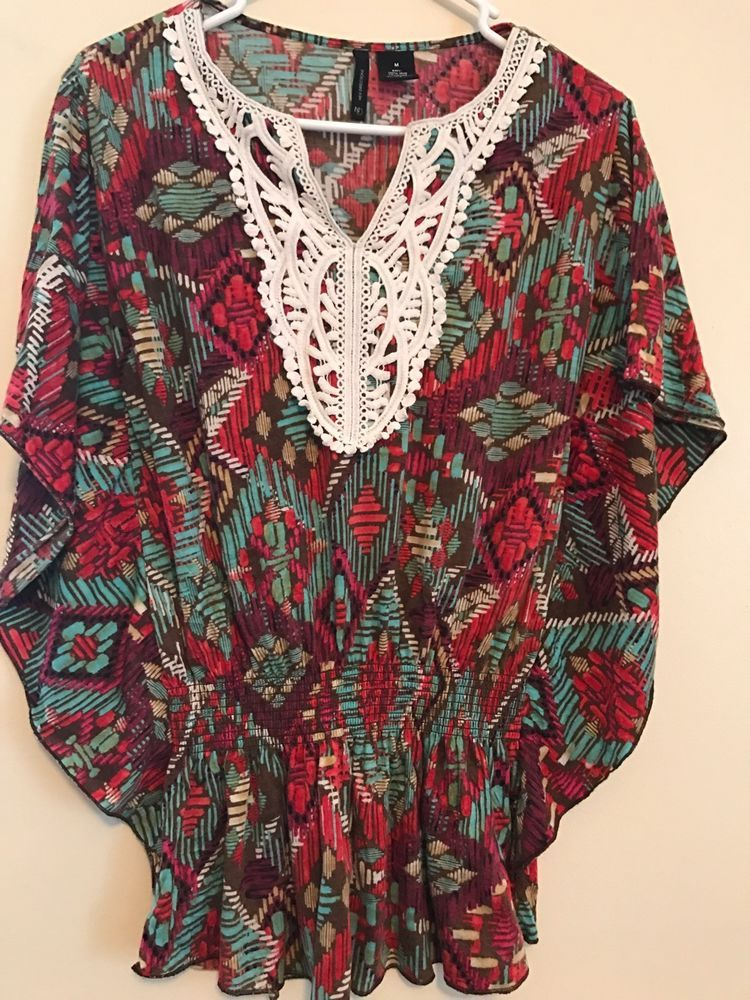 Ladies New Directions Multi-Color Indian Pattern Shirt Medium   | eBay
