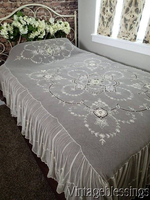 Rare Tambour Fine French Net Lace Coverlet 98x72 Pastel Embroidery
