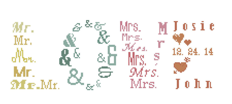 Mr & Mrs Cross Stitch Pattern/Modern Wedding Cross Stitch Pattern ...