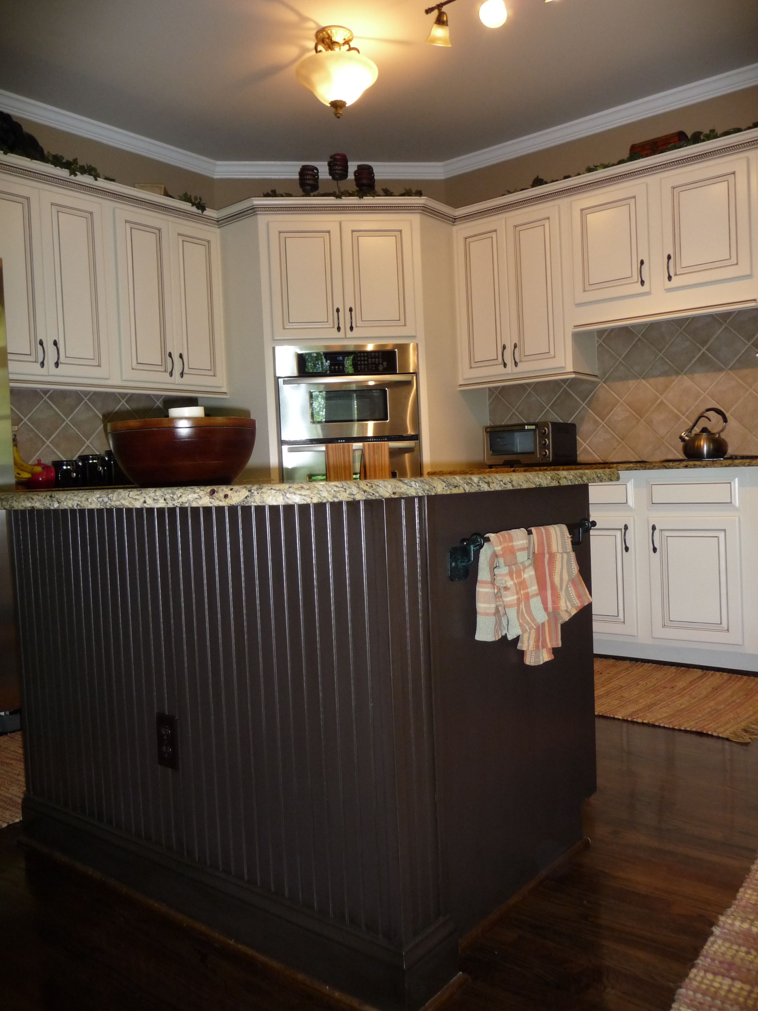 My Dream Kitchen At Last Painted Maple Cabinets Antique White Almond Added Light Rail At The Bottom And Kitchen Redo Kitchen Remodel Painted Kitchen Island