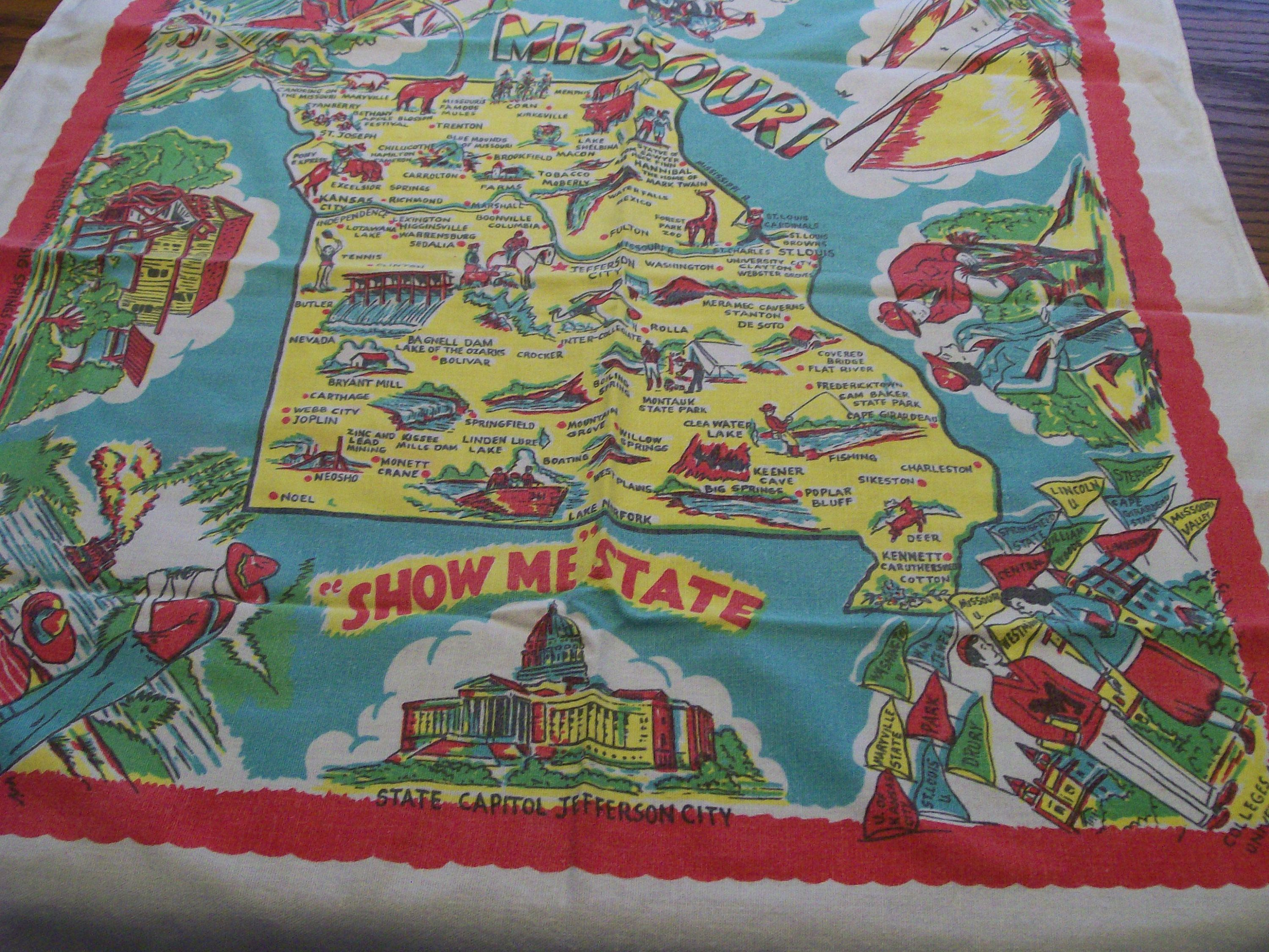 Map Of Oregon State Fairgrounds%0A Vintage Missouri Souvenir Tablecloth Map of State with Attractions   Show Me  State   Mid Century Table Topper State Capitol Mark Twain Region