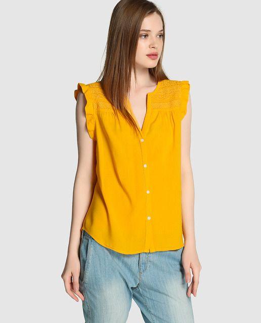 388d10a29 Blusa de mujer Kookai en color ocre con bordado   Color AMARILLO ...