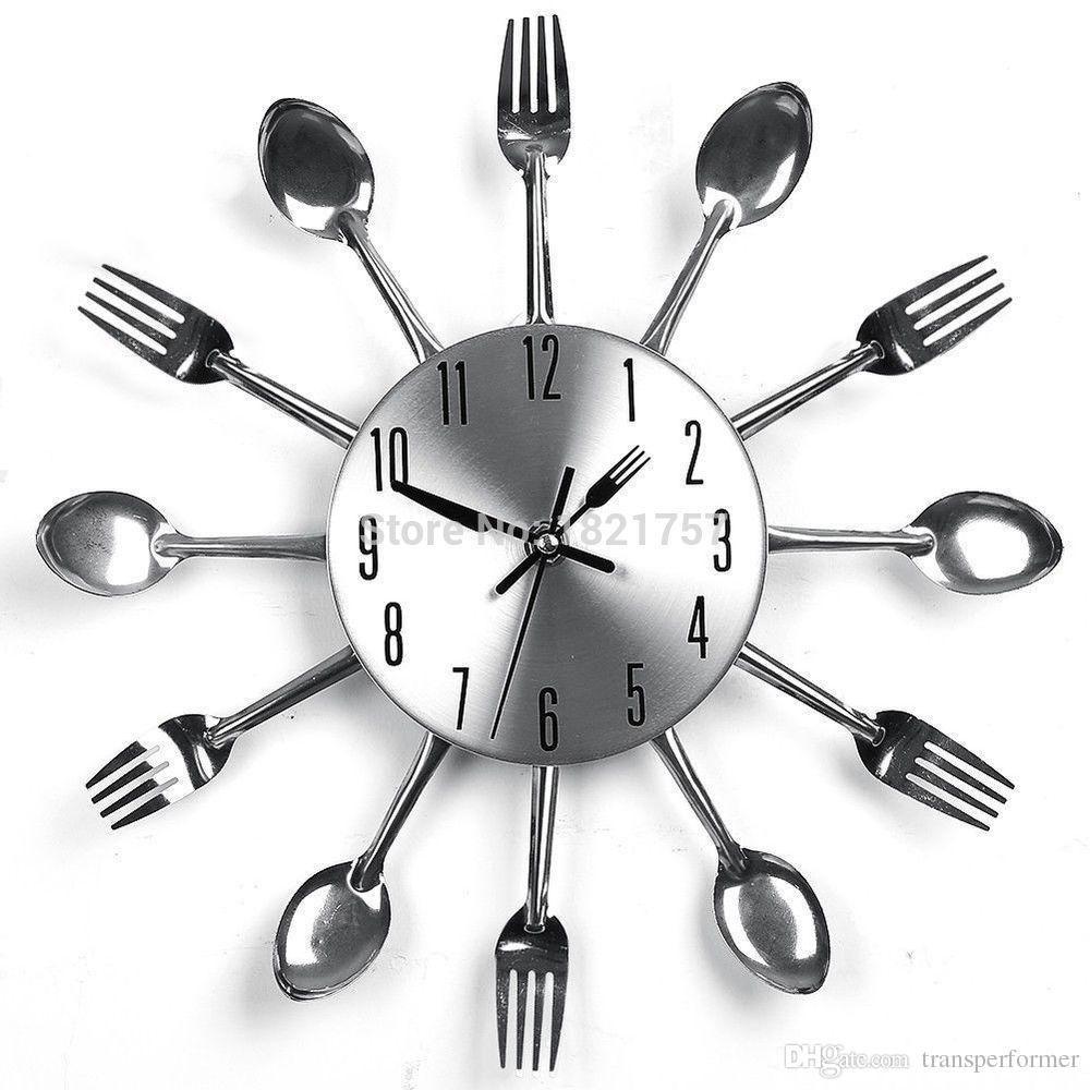 Uniquebella Metal Kitchen Cutlery Utensil Wall Clock Spoon: Moderne Sliver Besteck, Küchenzubehör, Clock Löffel Gabel
