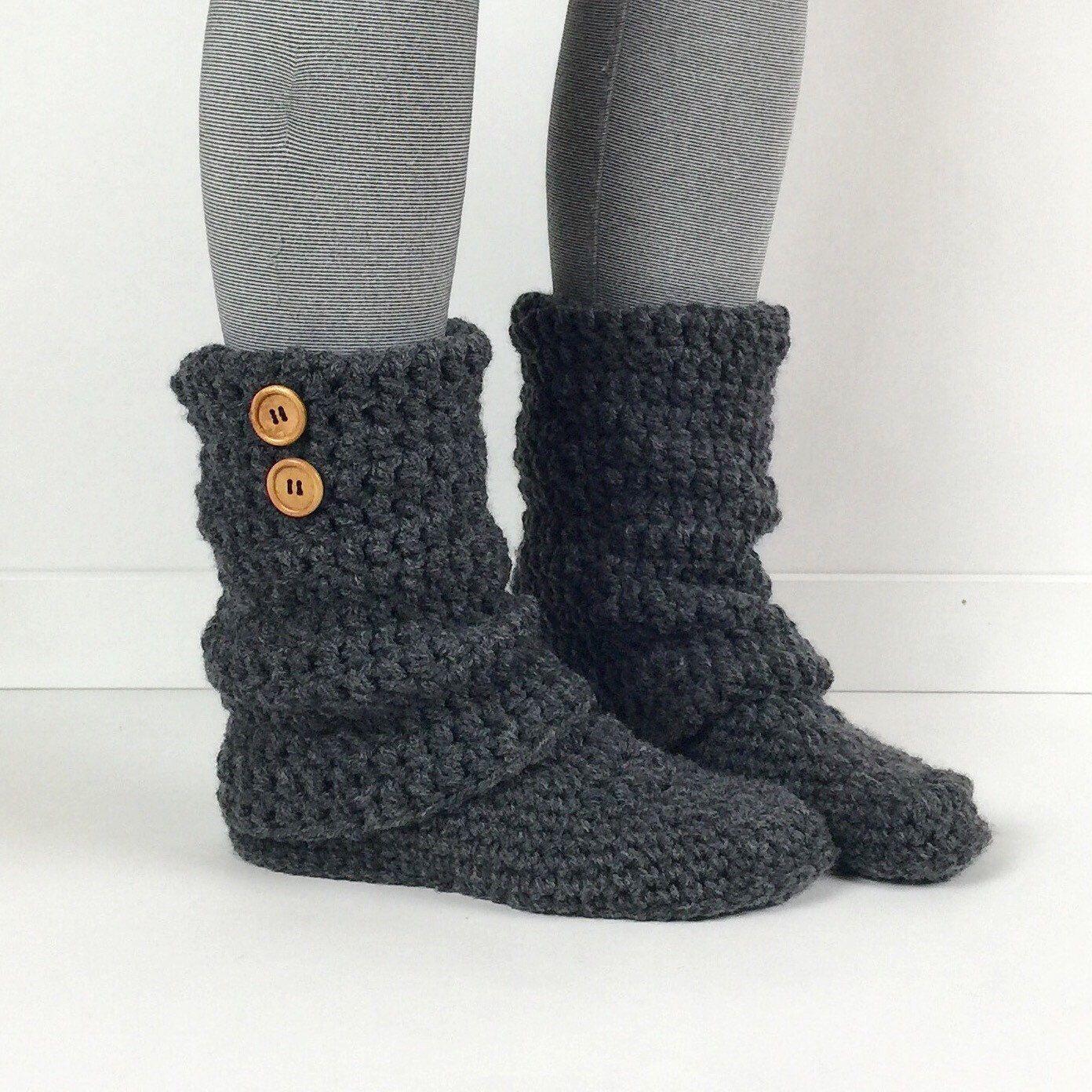 Women's Crochet Dark Gray Slouchy Slipper Boots, Crochet Slippers, Crochet Booties, Crochet Leg Warmer Boot, Knitted Grey Slipper Boots by StardustStyle on Etsy https://www.etsy.com/listing/215866803/womens-crochet-dark-gray-slouchy-slipper